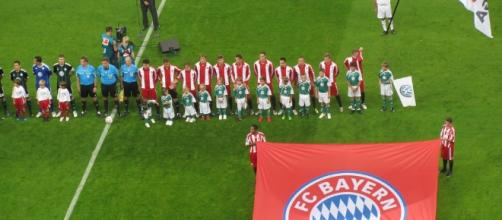 Bayern Munich line up ahead of a game