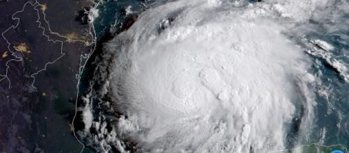 Hurricane Harvey hits the gulf of Mexico, satellite image/ / [Image by NOAA Satellites via Flickr, Public Domain]