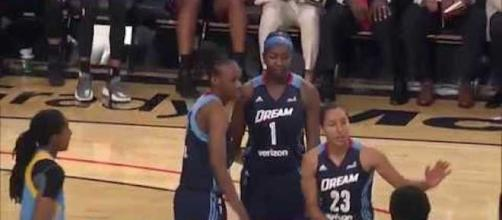 The Atlanta Dream took the Indiana Fever down in overtime for their second-straight win. [Image via WNBA/YouTube]