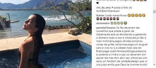 Emilly recebe críticas nas redes sociais