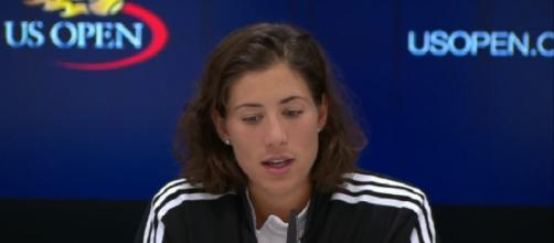 Garbine Muguruza during a press conference prior to US Open/ Photo: screenshot via Philip T Boosey channel on YouTube