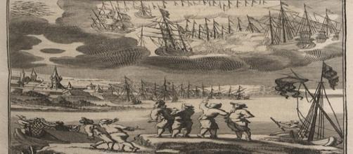 Grabado de 1680 que acompaña la descripción de Erasmus Francisci sobre la batalla celeste entre barcos acaecida en 1665