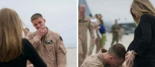 Josh se ajoelha para beijar a barriga de sua esposa