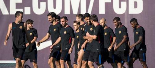 FC Barcelona: jugadores durante un entrenamiento