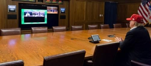 President Trump on teleconference about Hurricane Harvey / [Image by the White House via Flickr, Public Domain]