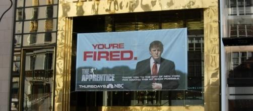 The Apprentice banner on Trump Tower, when 'You're fired.' meant something, 2005. / [Image by Wookie via Flickr, CC BY 2.0]