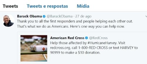 Twitter de Barack Obama para ajudar as vítimas do Harvey
