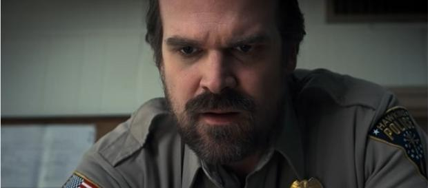 """David Harbour plays the troubled police chief, Jim Hopper in Netflix's """"Stranger Things."""" (YouTube/Netflix)"""
