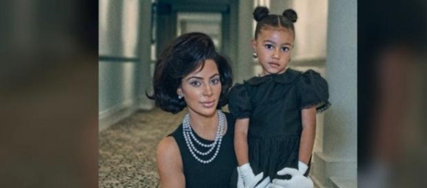 North West with mother Kim (Image credit: E! News/YouTube)