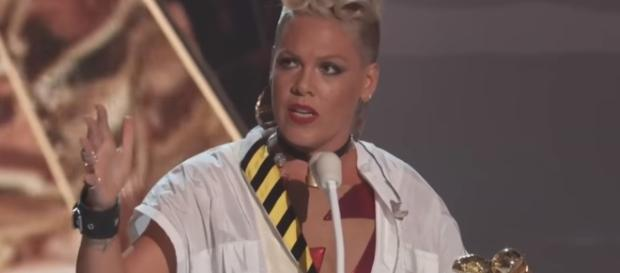 Pink photographed during her acceptance speech this year at the MTV VMAs - YouTube/MTV
