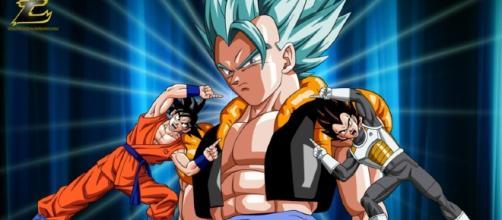 Fusão entre Goku e Vegeta, que resulta no poderoso Gogeta