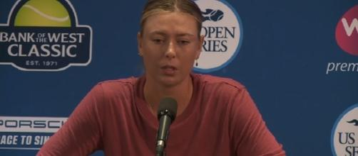 Maria Sharapova durng a press conference at Stanford/ Photo: screenshot via YouTube