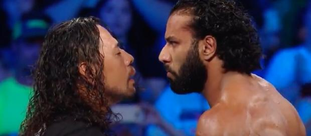 Shinsuke Nakamura and Jinder Mahal faced off in the opening segment of 'SmackDown Live.' [Image by WWE/YouTube]