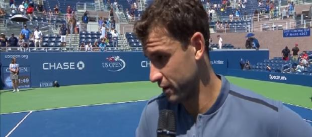 Dimitrov during the interview following his US Open round of 128 win/ Photo: screenshot via Grigor Dimitrov - Full Matches channel on YouTube