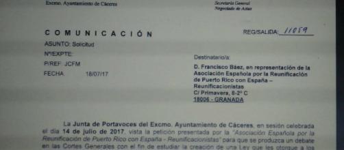 Acta oficial de la Junta de Cáceres, aprobando la petición de Reunificacionstas.org