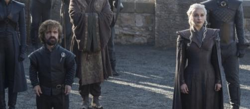 Daenerys (Emilia Clarke, R) must once again turn to Jon Snow in shortest episode of 'Game of Thrones.' / from [Image source: Youtube Screen grab]