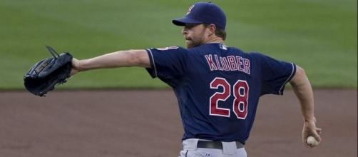Kluber in action, Wikipedia https://en.wikipedia.org/wiki/Corey_Kluber#/media/File:Corey_Kluber_on_June_27,_2013.jpg