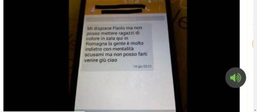 Screenshot dell'sms ricevuto da Paolo.