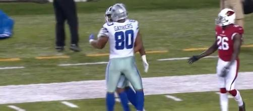 The Dallas Cowboys got 59 yards receiving and a touchdown from tight end Rico Gathers on Thursday night. [Image via NFL/YouTube]
