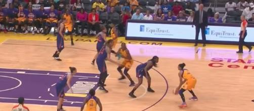 The Los Angeles Sparks host the New York Liberty in Friday night WNBA action. [Image via WNBA/YouTube]