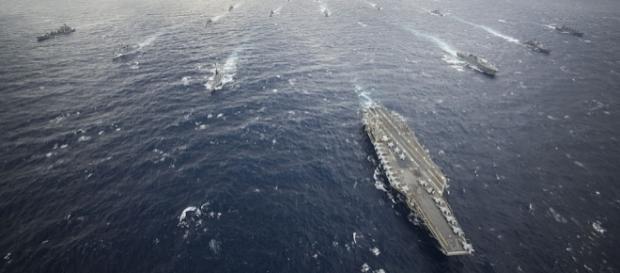 USS George Washington leads a carrier strike group - photo by MC3 Ricardo R. Guzman, US Navy via Wikimedia