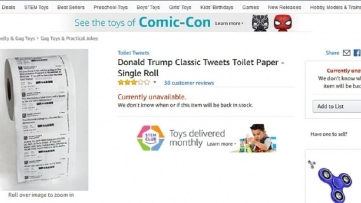 Amazon Was Selling Donald Trump Classic Tweets Toilet Paper This Website Is Currently Unavailable