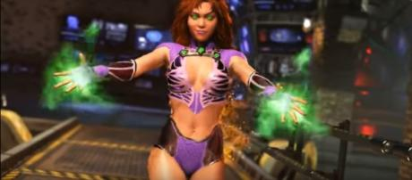 Starfire gameplay footage teases the possible addition of demon Trigon as DLC character. Injustice/YouTube