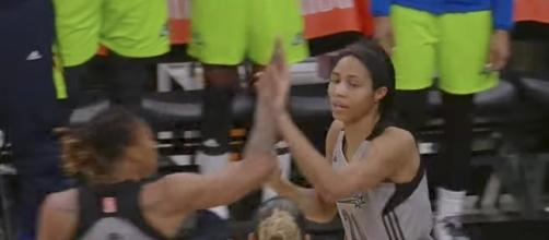 Center Isabelle Harrison helped lead the San Antonio Stars to their fifth win on Friday night. [Image via WNBA/YouTube]