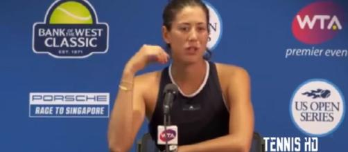 Garbine Muguruz during a press conference in Stanford, CA/ Photo: screenshot via Tennis HD channel on YouTube