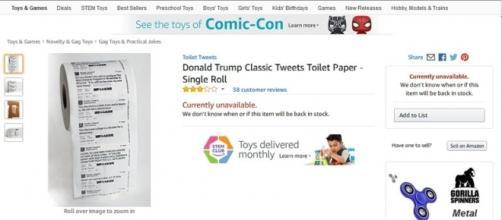 "Photo ""Donald Trump Classic Tweets Toilet Paper"" screen capture from Amazon website"
