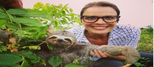 Priscila segura um bicho preguiça em uma de suas reportagens