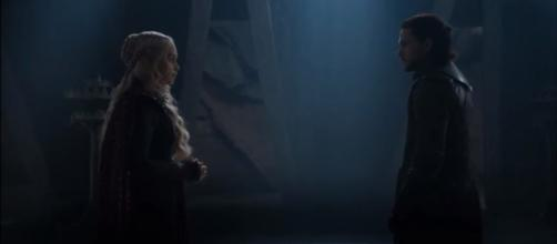 """The way they lock glimpses at each other means something. More of this in """"GOT"""" S07 E05. (GameofThrones / YouTube)"""