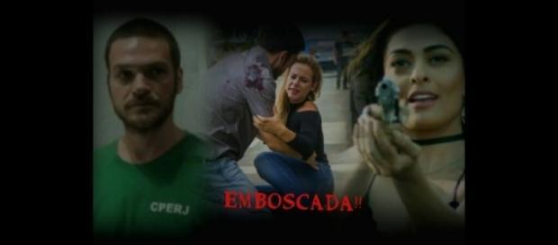 Rubinho (Emílio Dantas), Jeiza (Paola Oliveira) e Bibi (Juliana Paes).
