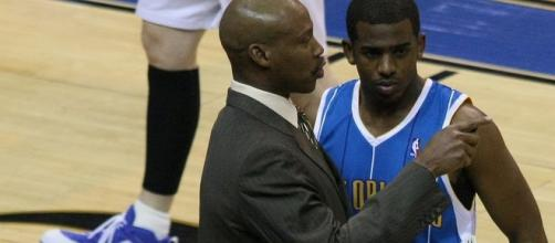 Byron Scott and Chris Paul/ photo by Keith Allison via Flickr