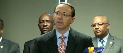 Expect DAG Rod Rosenstein to be next on Trump's hit list. Image credit - WBAL TV 11/YouTube.