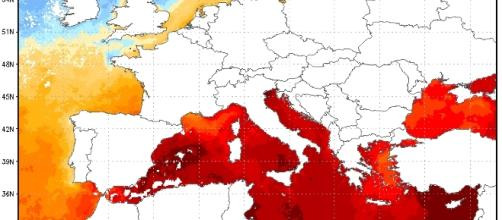 Le altissime temperature, sino a +29°C, registrate sui mari italiani