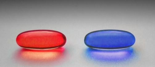 Red and blue pill free image via Wikimedia Commons