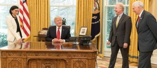 Seema Verma, Donald Trump, Tom Price and Mike Pence in the Oval Office, March 2017 by Shealah Craighead via Wikimedia Commons