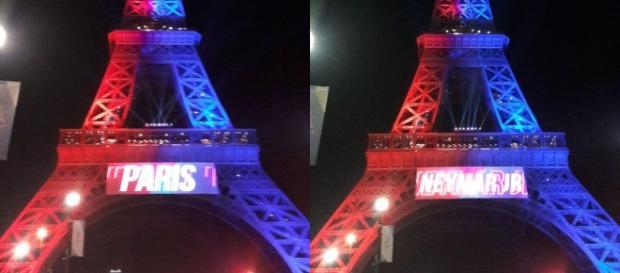 La Tour Eiffel aux couleurs du PSG pour l'arrivée de Neymar