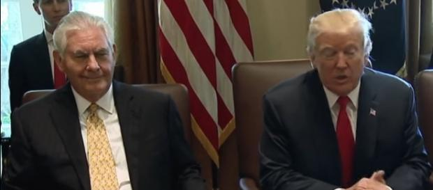 Secretary of State Rex Tillerson with President Trump. / [Screenshot from the White House via YouTube:https://youtu.be/GNlLSnmRTzE]