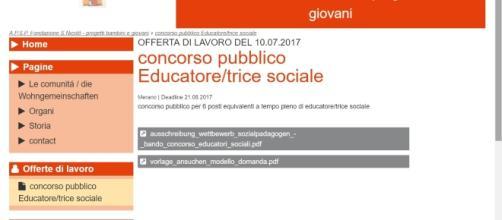 Concorso educatore sociale 6 posti, Merano