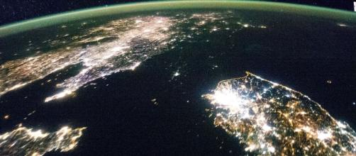North and South Korea at night (Wikimedia Commons).