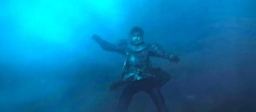 Jaime Lannister drowning in his own defeat.