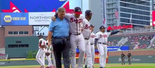 Johan Camargo injured before first pitch - Youtube/FOX Sports South Channel