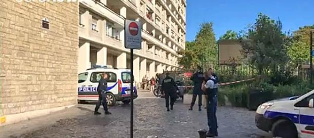 The driver of a BMW car drove into six soldiers on the outskirts of Paris [Image: YouTube/ euronews (in English)]