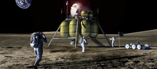 Future explorers on the moon (courtesy NASA)