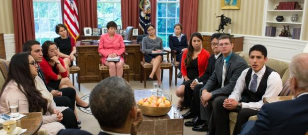 President Barack Obama and VP Biden meet with DREAMers in the Oval office, May 21, 2013. (White House)