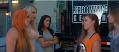 Charlotte four horsewomen vs Rousey four horsewomen - WWE Youtube/ Youtube screngrab