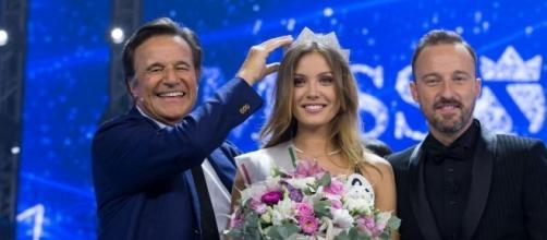 Miss Italia Alice Rachele Arlanch, assieme a Christian De Sica e Francesco Facchinetti