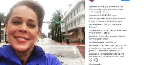 Repórter da Globo sorri diante da chegada do furacão Irma